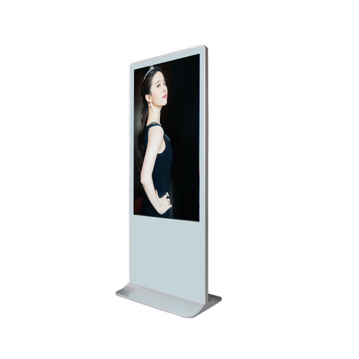 55 Inch White Floor Stand Lcd Advertising Player Kiosk