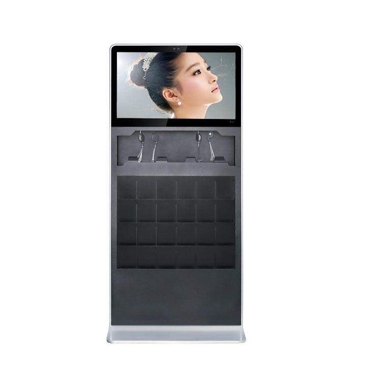 32 Inch Free Stand Horizontal Screen With Brochure Slots