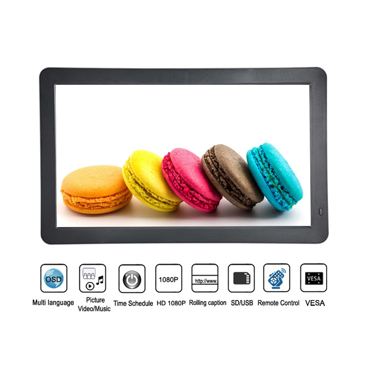 Indoor Wall Mounting 13.3 Inch Lcd Tv Advertising Display With Video Music Loop